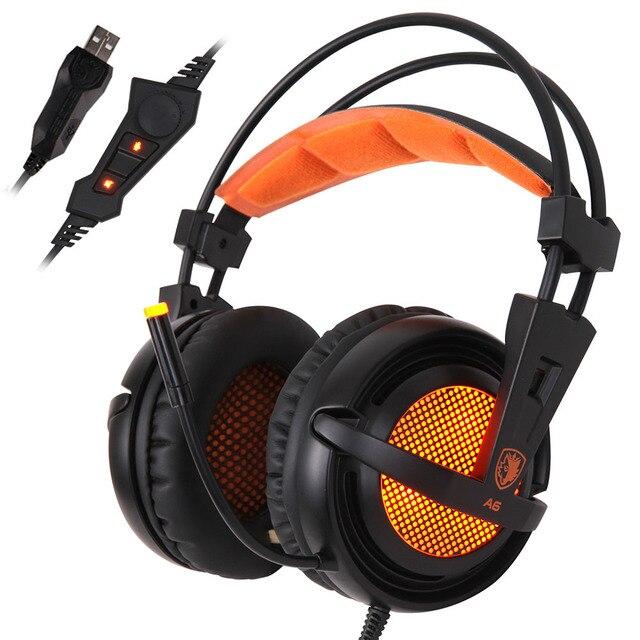 SADES A6 Pro Gaming Headset USB 7.1 LED Respirar Sobre la Oreja Jugador del juego de Auriculares de Cancelación de Ruido Micrófono fone de ouvido para pc