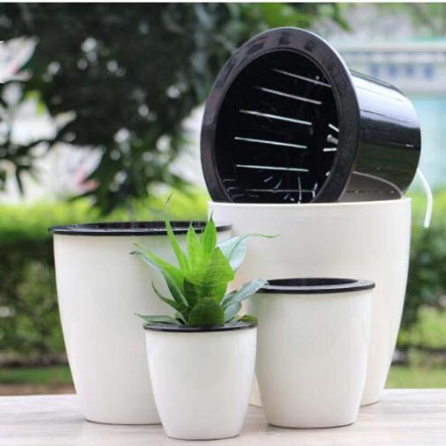 New self watering pot flowerpot planter basket home garden new self watering pot flowerpot planter basket home garden convenience diy garden decor workwithnaturefo