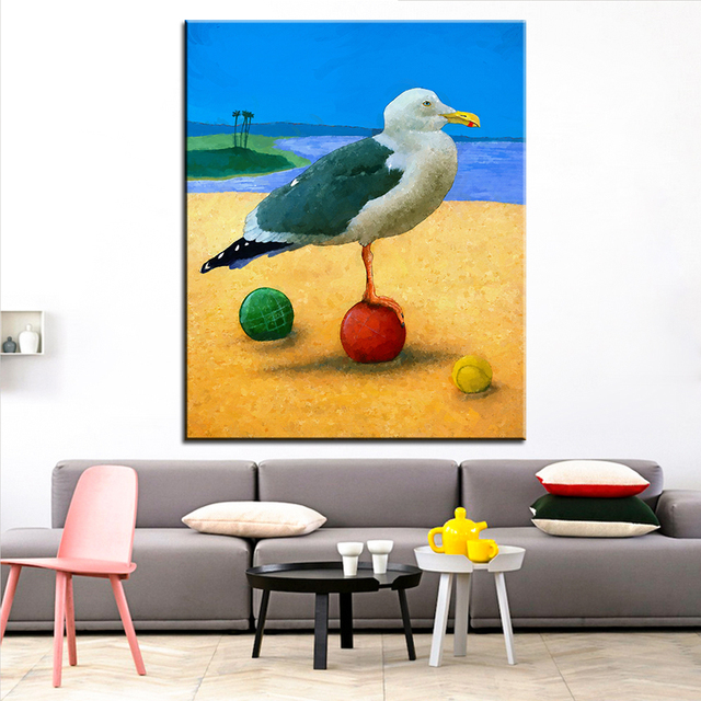 Large size Printing Oil Painting beach bocce Wall painting Wall Art ...