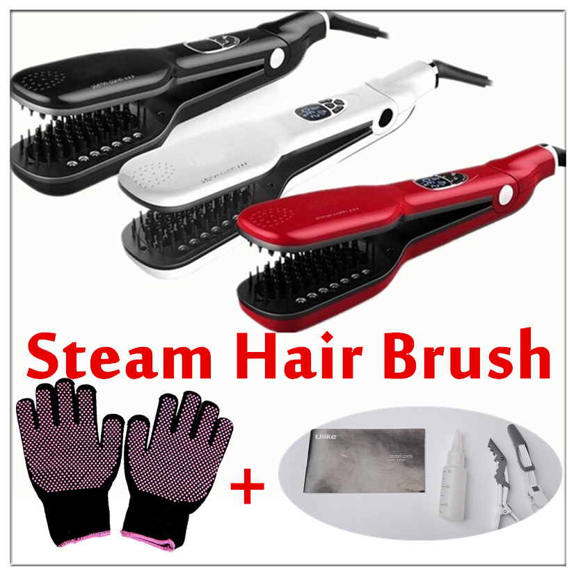 2018 Newest Magic Hair Straight Steam Comb Hair Straightener Brush Electric Steampod Straight Hair Comb Straightener Steam ceramic electric hair straightener direct volume dual use bangs straight hair comb perm artifact does not hurt free shipping
