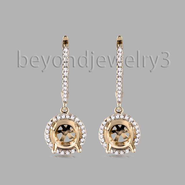 6mm Round Earring Semi Mount Solid 14k Yellow Gold 0 30ct Diamond Mounts In Drop