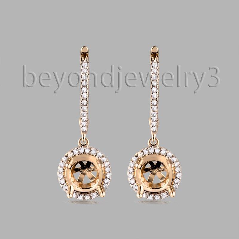 b5480d8ab022 6mm ronda pendiente montaje semi sólido 14 K oro amarillo 0.30ct diamante  monta en venta WE053