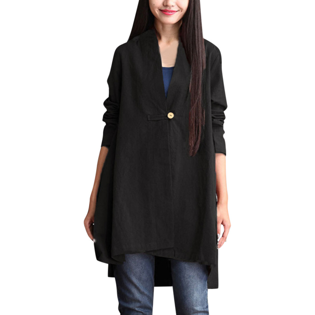 Women Blouse and shirts 2018 New Women Casual V-Neck Cotton Linen Long Sleeve Tunic/Top Blouse With Buttons