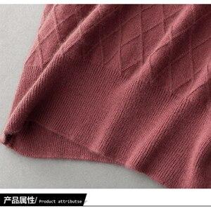 Image 5 - 100% カシミヤハイエンド女性カジュアルロングセータードレス女性の秋の冬黒長袖ルーズニットセータードレス