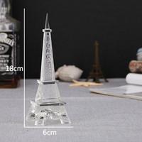 18*6cm Crystal Glass Eiffel Tower Model Paperweight White Birthday Wedding Figurine Crafts Gifts For Valentine's Day Home Decor