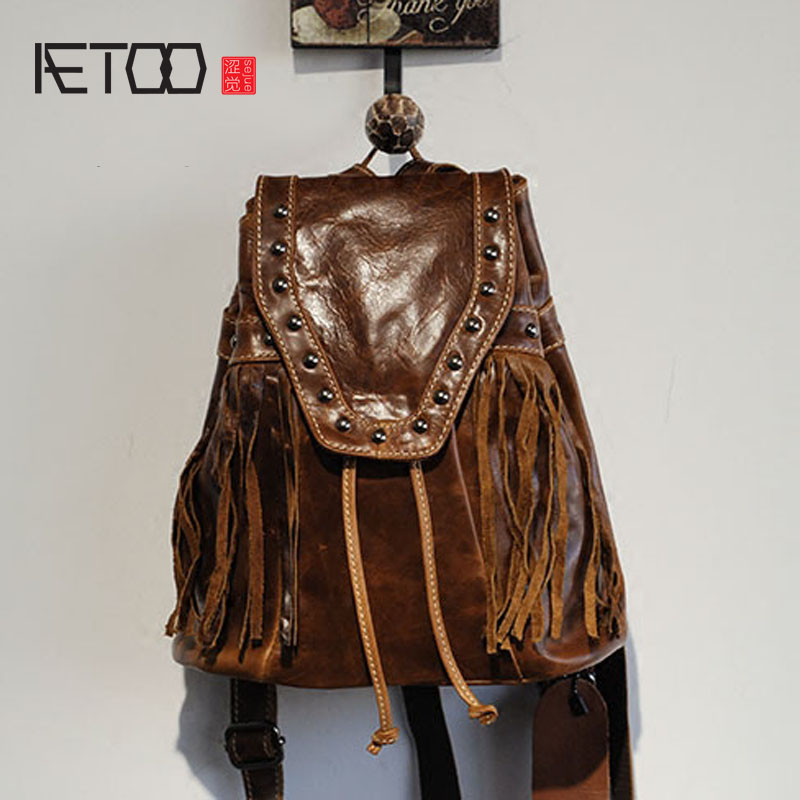 AETOO  Leather shoulder bag female Korean version of the wind retro cowhide rivets tassel backpack tide oxford bag korean version of the female students shoulder bag large capacity backpack canvas backpacks