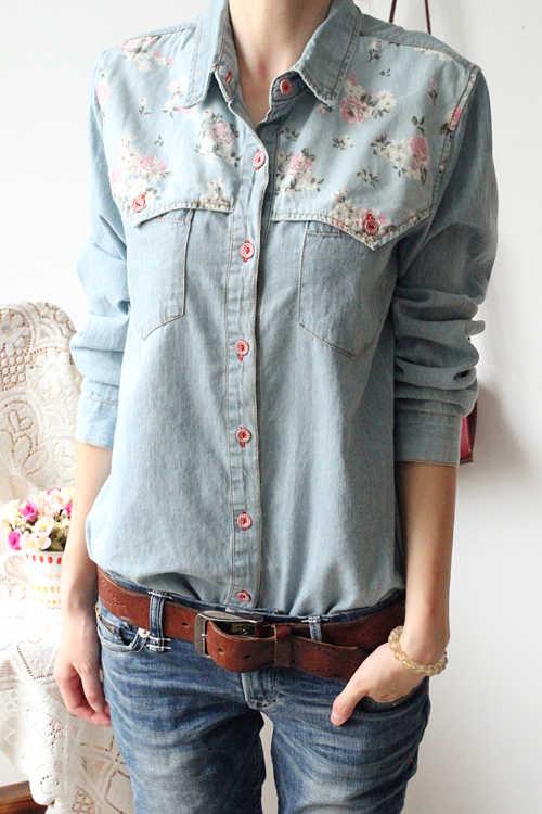 b762ab68c3b Detail Feedback Questions about Women autumn fashion slim long sleeve water  wash floral print denim shirt female trendy plus size jean cotton casual  blouse ...