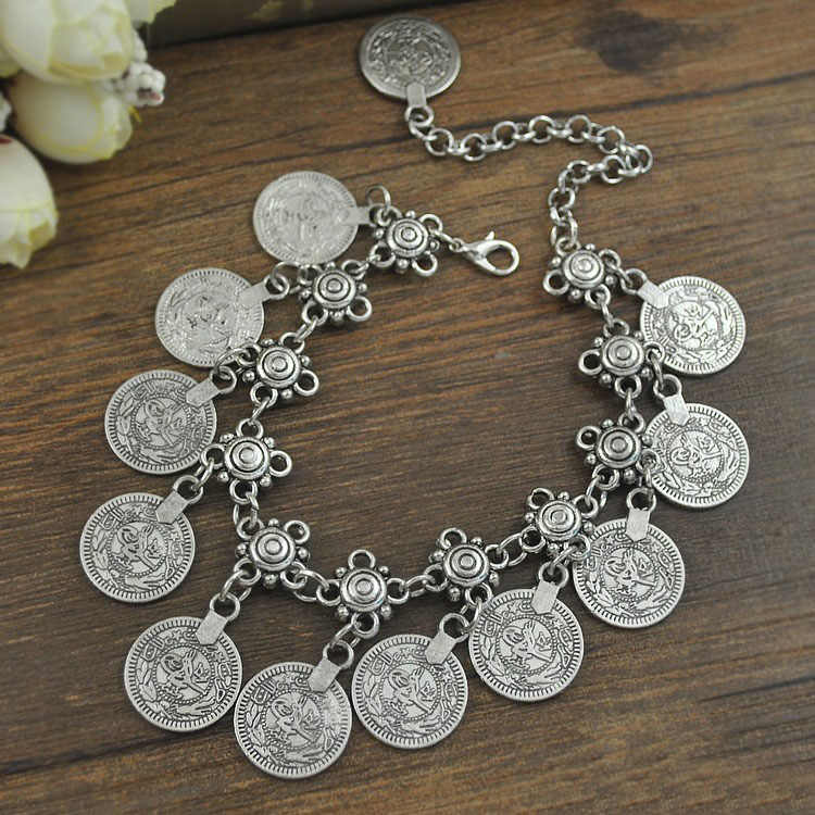 Women Fashion Jewelry Bracelets Silver-Color Coin Charms Dangle Pendant Bracelets Vintage Ethnic Jewelry Gift Free Shipping