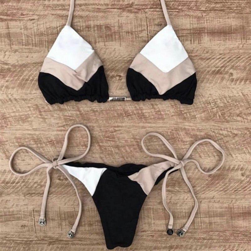 Sexy Halter Swimsuit Women Thong Micro Bikini Push Up 2020 Brazilian Bikini Tropical Plant Print Swimwear String Mini Swimsuit