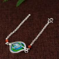 FNJ 925 Silver Bracelet 17.5cm Chain Embroidery Geometric Charm Thai S925 Silver Bracelets for Women Jewelry