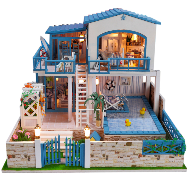 13829 Hongda large diy wooden dollhouse miniature villa doll house LED  lights miniatures for decoration toys girls-in Doll Houses from Toys &  Hobbies