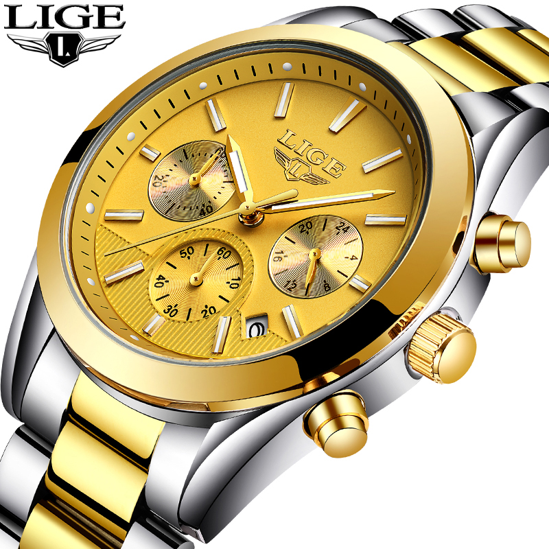 все цены на LIGE Luxury Men's Watch Brand Full Steel Gold Quartz Watches Men Military Waterproof Sport Man Fashion Casual Relogio Masculino