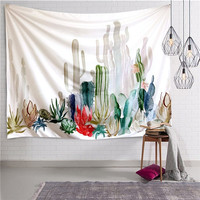 130*150cm Pastoral Tapestry Green Cactus Printed Bed Sofa Cover Wall Hanging Cloth Paintings for Home Picnic Blanket Yoga Mat