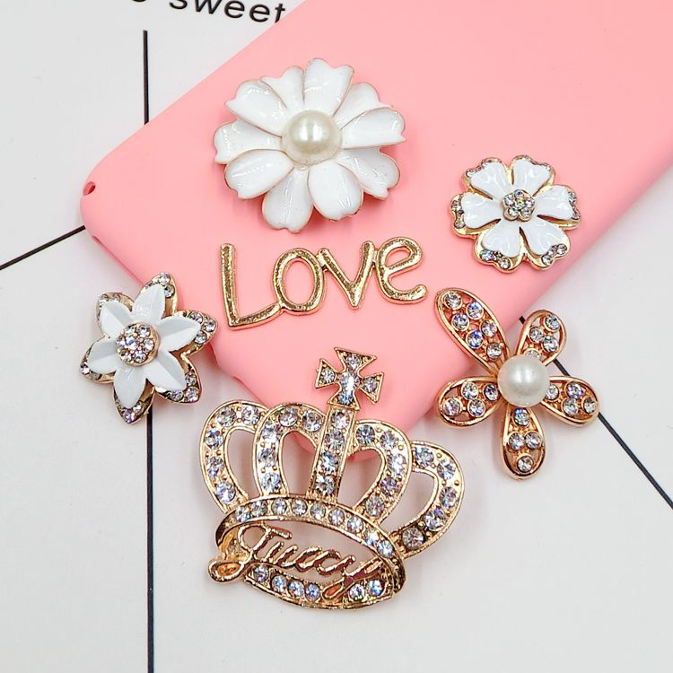 3D Alloy Stickers For Mobile Phone Decoration Crystal Flower Crown DIY Decorations/Accessories/Charms Mobiele Telefoon Decoratie
