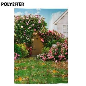 Image 3 - Allenjoy background photography spring courtyard grassland flower door garden backdrop Sunny photozone photo studio Photobooth