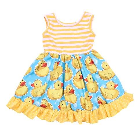 vestido da crianca do bebe meninas listrado dos desenhos animados pato amarelo impresso design festa