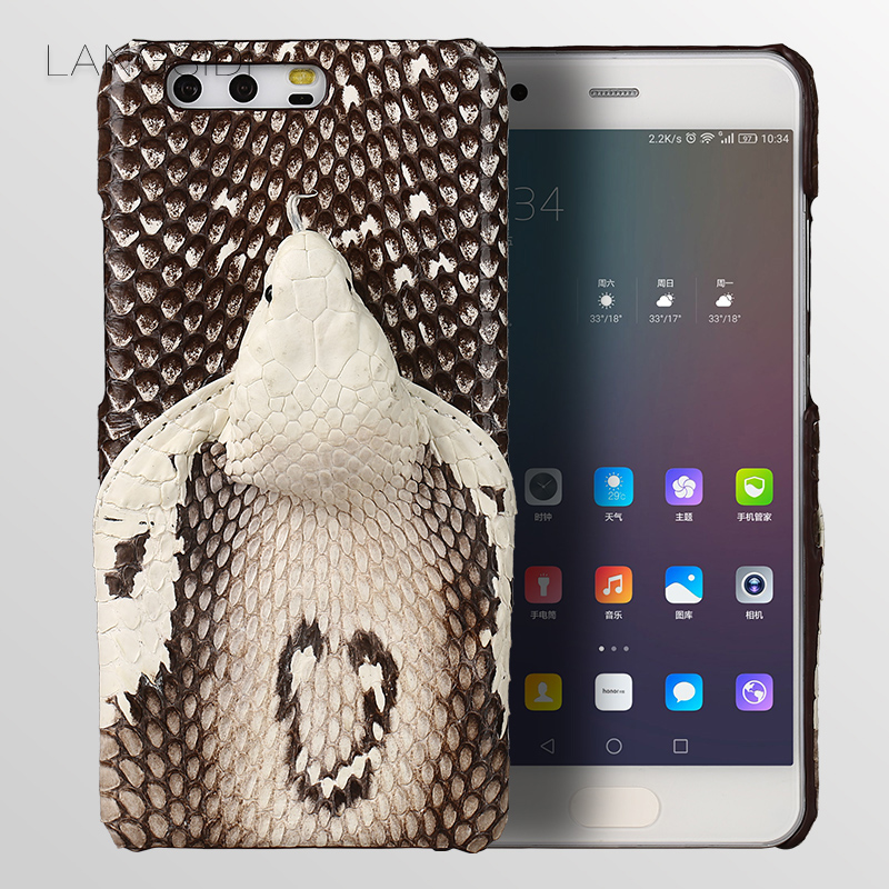 wangcangli brand phone case real snake head back cover phone shell For Huawei P10 Plus full manual custom processing
