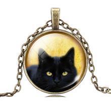 Vintage Black Cat Art Picture Pendant Necklace Glass Cabochon Antique Bronze Silver Color Chain Choker Necklace Jewelry Fashion