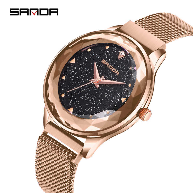 30fd28557 Luxury Women Starry Sky Watches Minimalism Rose Gold Magnet Buckle Fashion  Casual Female Crystal Numeral Wristwatch