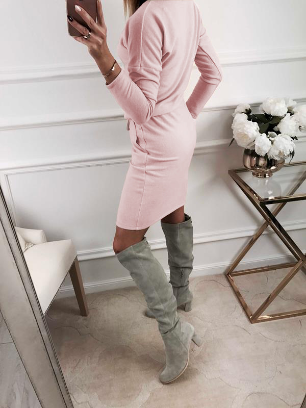 2018 summer women's fashion solid color dress hot round neck long sleeve long dress women's slim pocket dress