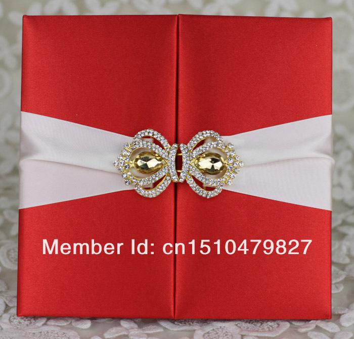 Free Shipping !!! HI2003 Hot Sale Silk Folio Wedding Invitation with  Rhinestone Brooch-in Cards   Invitations from Home   Garden on  Aliexpress.com  026f253befc2