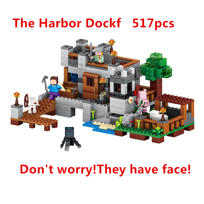 LELE 79287 517pcs My World Minecraft The Harbor Wharf Model action anime figures Building Blocks Bricks Toy For Children gifts