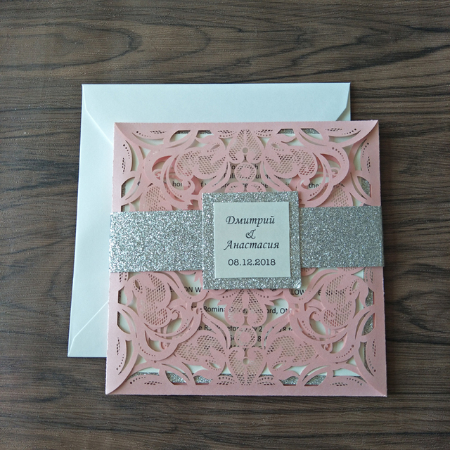 Luxurious Glitter Silver Wedding Invites With Tag 2019 Elegant Pink Laser Cut Evening Dinner Invitations