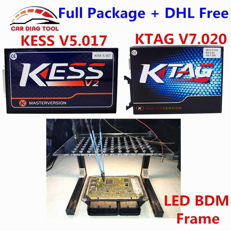 imágenes para Actualización En Línea Versión KTAG V7.020 + Marco de BDM KESS KESS V2 V5.017 + LED 5.017 K K-TAG TAG 7.020 ECU programador Para Coches/Camiones