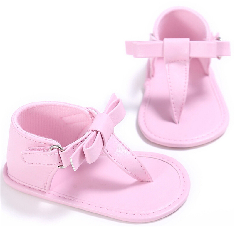 Emmababy New Fashion Newborn Baby 0-18M Prewalker Summer Flip-flops Kids Girls Boy Cute Bowknot Unisex Soft Shoes