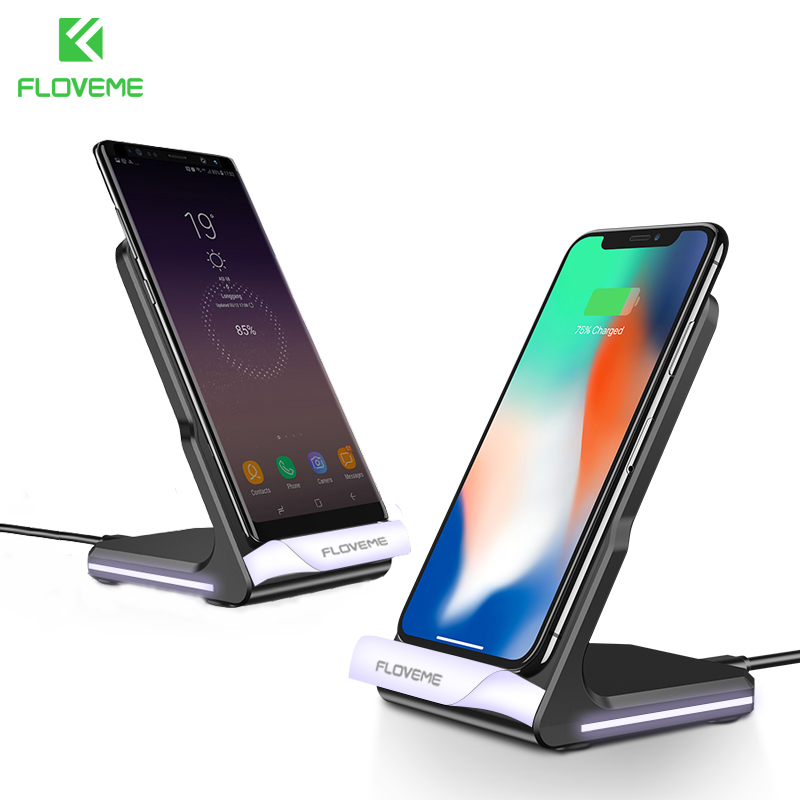 FLOVEME Wireless Charger For iPhone 8 X / 8 Plus Wireless Charging QI Wireless Charger Pad Fast For Samsung Galaxy S8 / S7 Edge