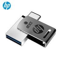 새로운 hp usb c 플래시 디스크 16 기가 바이트 otg pendrive 32 기가 바이트 64 기가 바이트 x 5000 m 금속 메모리 스틱 선물 usb3.1 펜 새겨진 diy 로고 타입-c 펜 드라이브