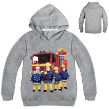 Fireman Sam Costume 3-16Years Clothing Hooded Coat Baby Boy Jumper for Children Girl Print Cartoon Outwear