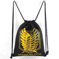 Atak na titan shingeki no kyojin czarny biały druk logo kolorowe string canvas plecaki torby na co dzień mężczyzna kobieta torby na zakupy