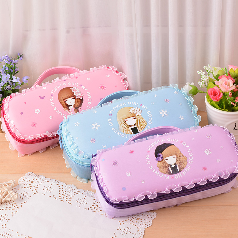 New Cute Lovely Large Capacity School Girls Gift Pencil Case Pencil Bag Pen Holder Pouch For Student Stationery Art Supplies  10pcs lot cute fruit pudding large capacity pu pencil bag leather pen case canetas stationery school supplies watermelon