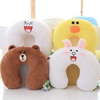 30x30 cm Adorable Soft Korean Line Town Dino Brown Bear Plush Toy U Shape Pillow Stuffed Cartoon Bear Cushion Toy For Fans
