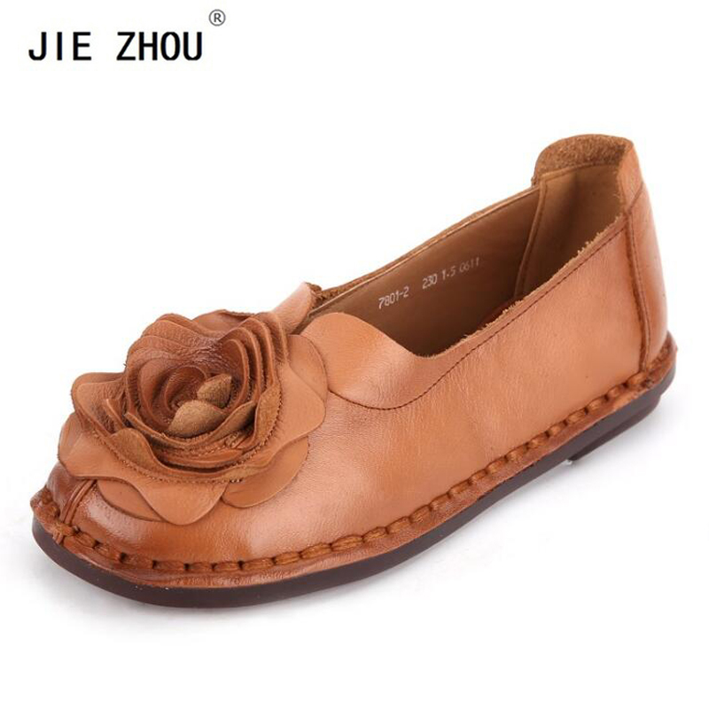 New Spring Autumn Fashion Loafers 100 Genuine Leather Single Shoes Soft Casual Flat Shoes Women Flats