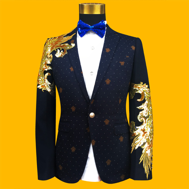 3D flower blazer jacket prom wedding male costume Black gold plaid nightclub bar costume male cortex singer dancer performance