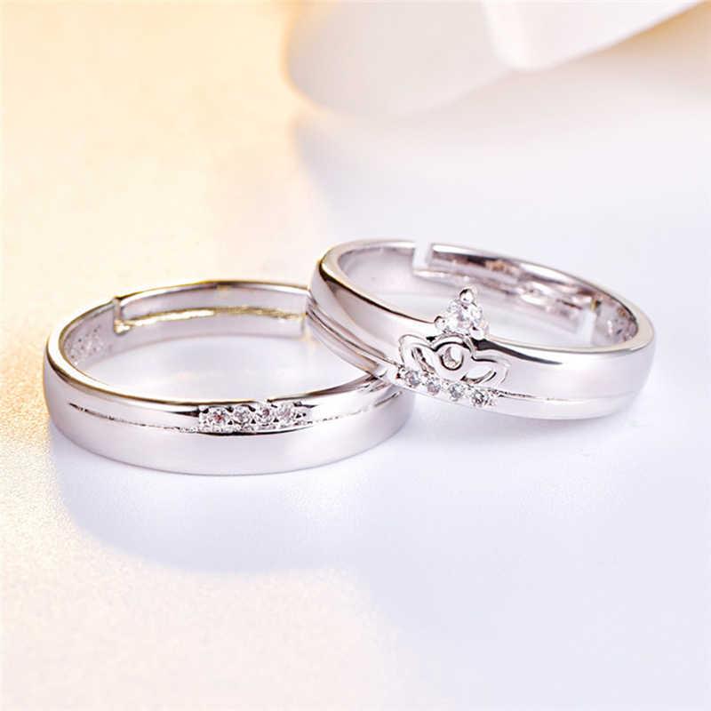 สแตนเลสสตีลสไตล์แฟชั่นมงกุฎเพชรชุดแหวนคู่แต่งงาน