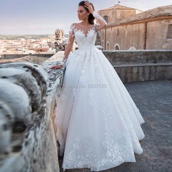 Luxury Wedding Dresses Lace Appliques Scoop Vestido De Noiva Long Sleeve Ball Gown Up Bridal Gowns 2021 Court Train - discount item  20% OFF Wedding Dresses