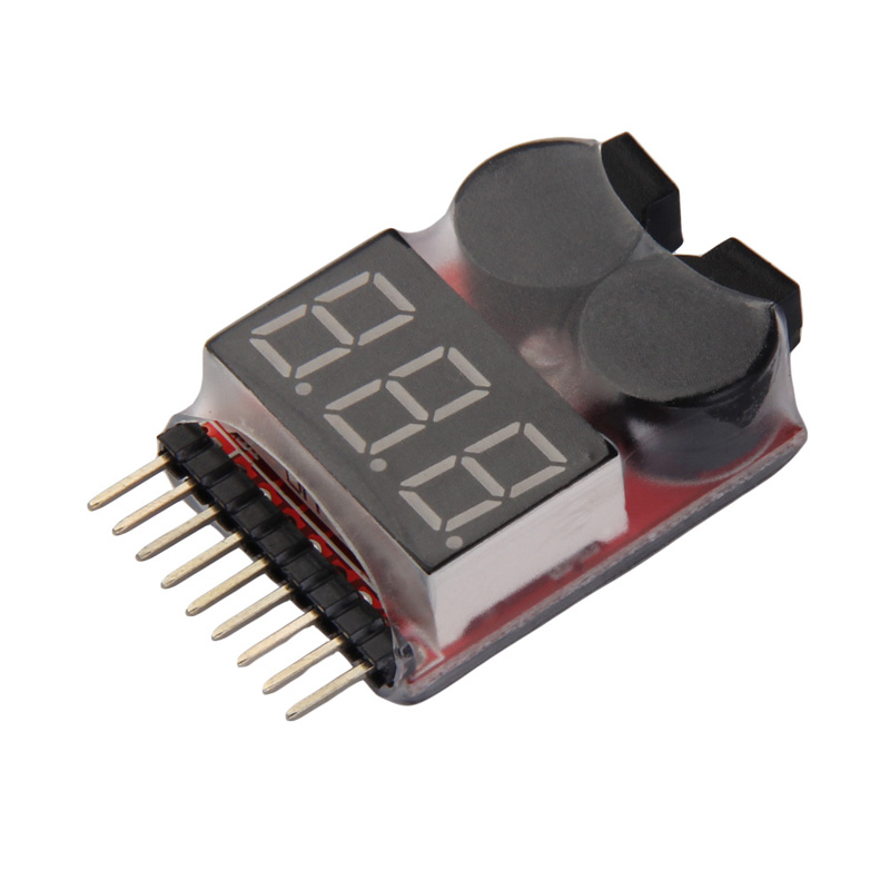 2 in1 RC Lipo Battery Low Voltage Meter Tester Indicator 1S-8S LED Battery Low Voltage Buzzer Alarm 1s 2s 3s 4s 5s 6s 7s 8s lipo battery balance connector for rc model battery esc