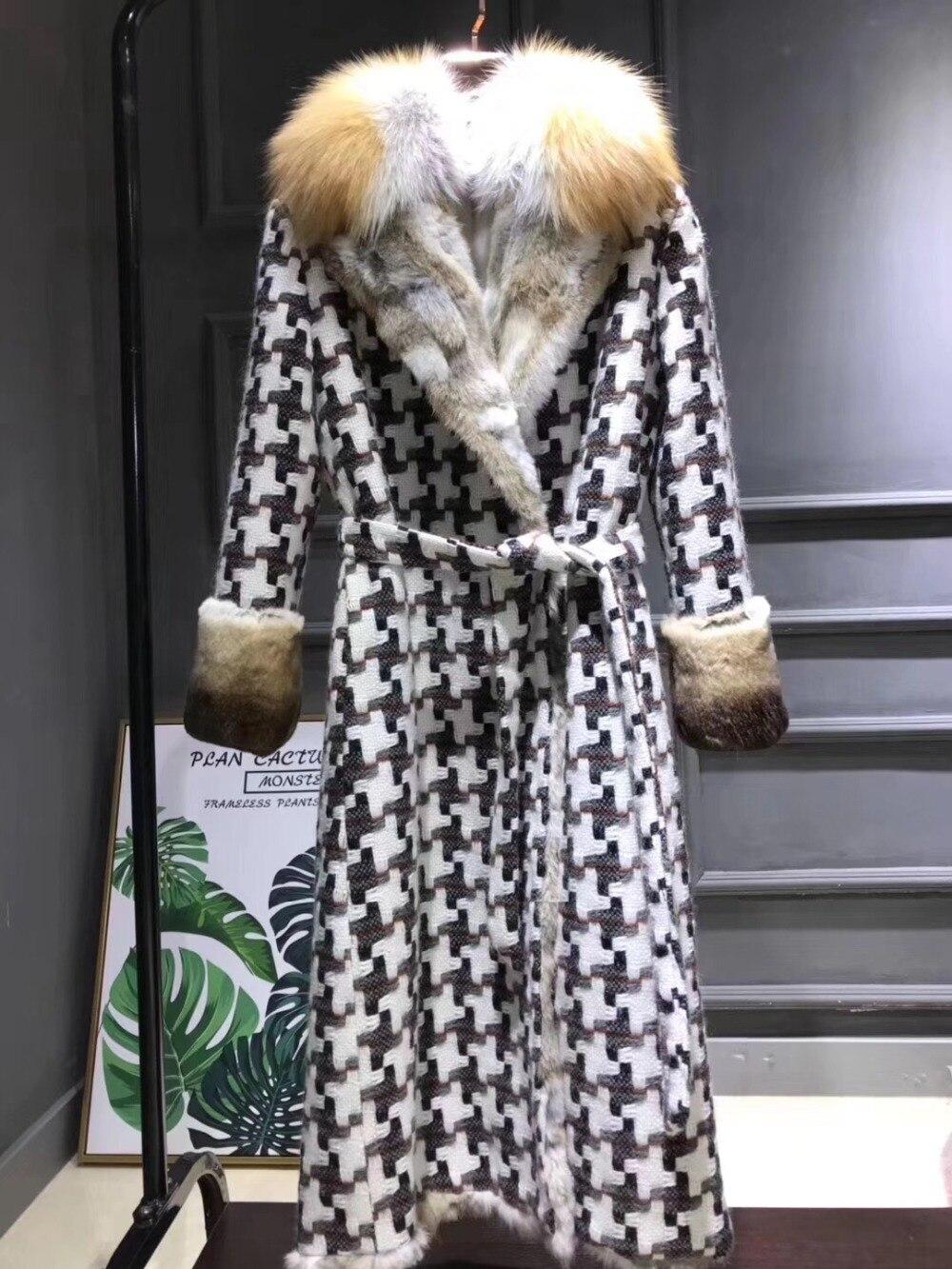 Hiver Veste Réel Rex De Fourrure De Lapin Doublure Longue Parka Femmes Tweed Laine Veste Avec Naturel Renard Col De Fourrure Manteau D'hiver femmes