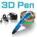 De alta calidad 3d pen1.75mm abs/pla smart 3d lápiz de dibujo pen + filamento + adaptador regalo Creativo Diseñado para niños