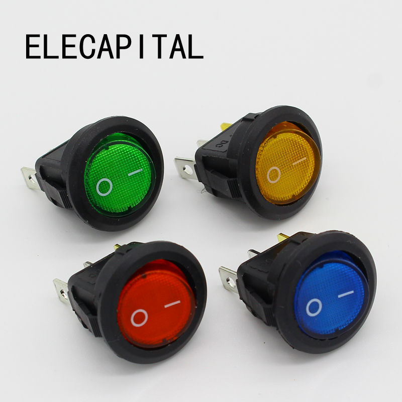 4Pcs Car 220V Round Rocker Dot Boat LED Light Toggle Switch SPST ON/OFF Top Sales Electric Controls g126y 2pcs red led light 25 31mm spst 4pin on off boat rocker switch 16a 250v 20a 125v car dashboard home high quality cheaper