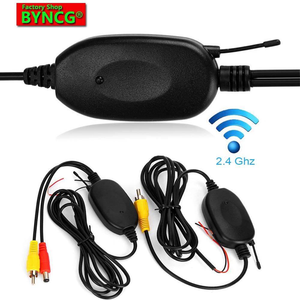 BYNCG W0 2,4 GHz-es vezeték nélküli RCA videó adó és vevő az autó hátsó fényképezőgépének monitor-adóhoz és vevőadapteréhez