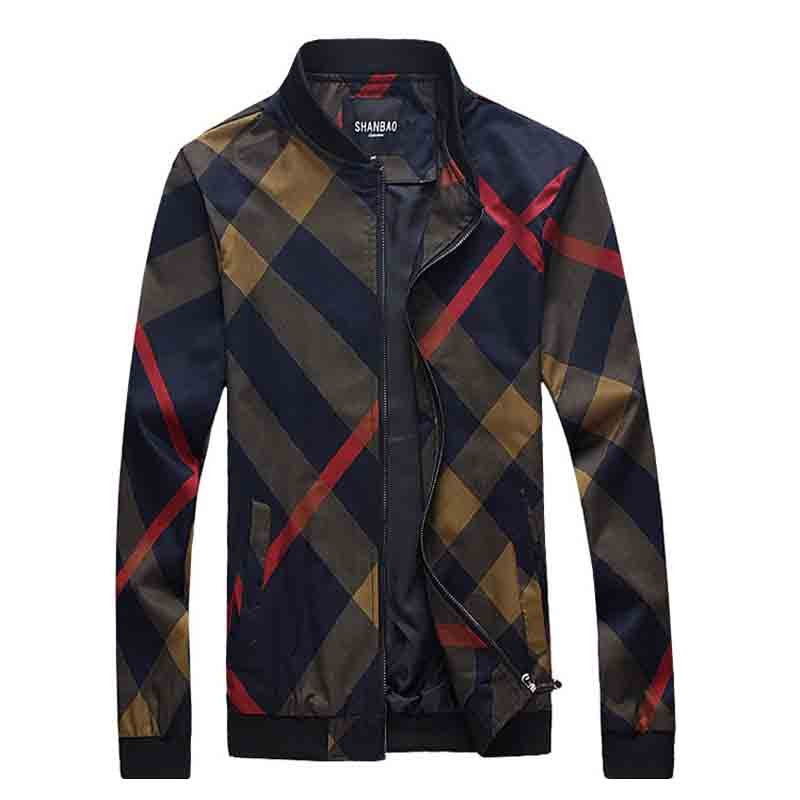 2017 new arrival spring and autumn style fashion casual 3D classic Plaid print men's jacket coat overcoat large size M-5XL