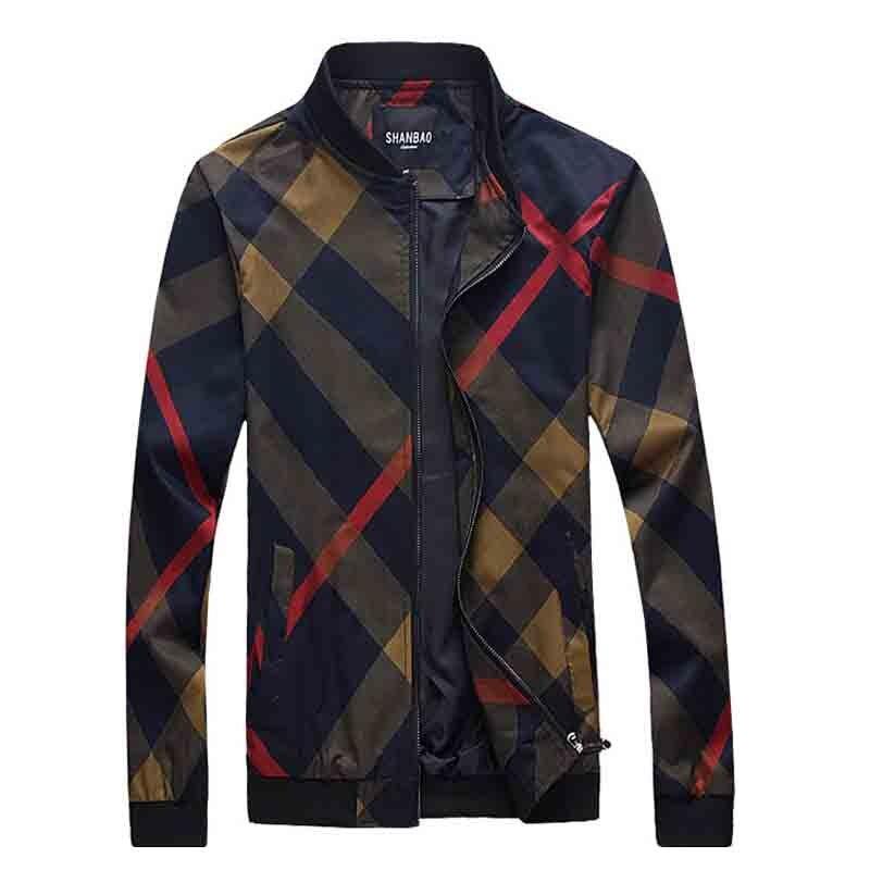 2017 nouveauté printemps et automne style décontracté 3D classique Plaid imprimer hommes veste manteau pardessus grande taille M-5XL