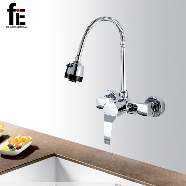 fiE Wall Mounted Double Holes Kitchen Faucet Mixers Sink Tap Wall ...