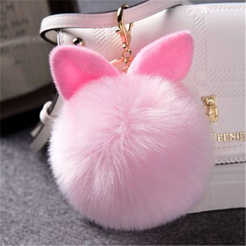 Fake Rabbit Furs Ball Key Chain Porte Clef Pompom Fourrure Fluffy Fur Pom Pom Keychains For Women Bag Car Charms Bunny Keyring chaveiro fluffy for keychain fake rabbit fur ball pom pom cute charms pompom gifts for women car bag accessories