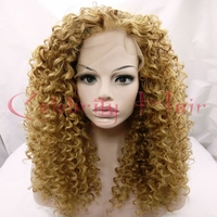 Blonde 27# Curly Synthetic Lace Wig Glueless Lace Hair Black Women Heat Resistant Lace Front Wig Free Part24