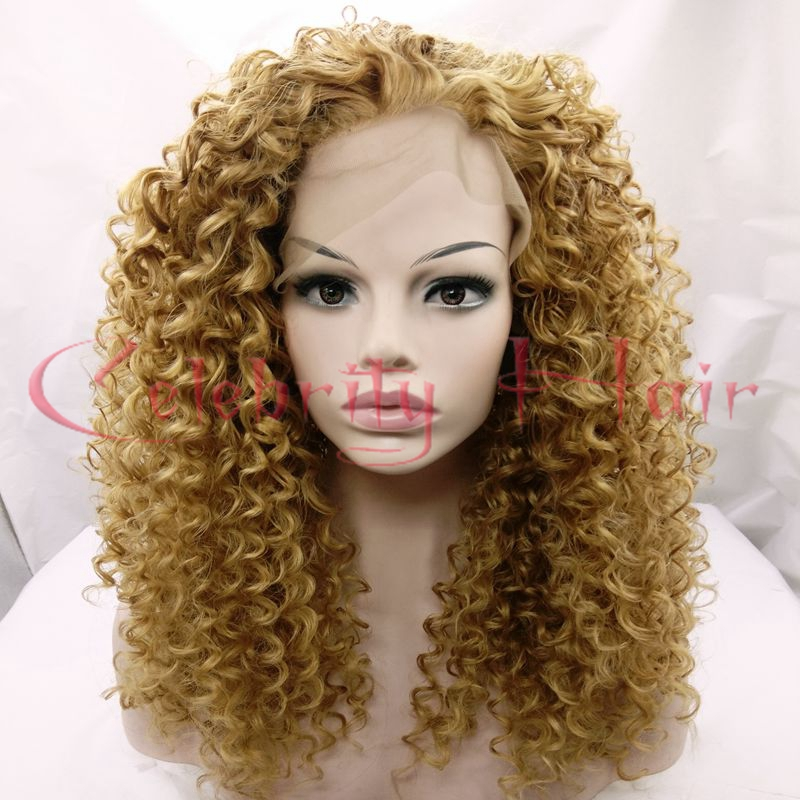 Blonde 27# Curly Synthetic Lace Wig Glueless Lace Hair Black Women Heat Resistant Lace Front Wig Free Part24150%Freeshipping US